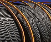 Large spools of electric cable Royalty Free Stock Photography