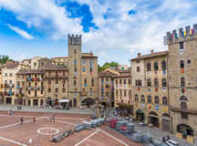 Large square in Arezzo Stock Photography