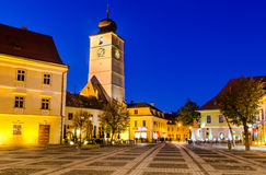 Large Square and Council Tower in Sibiu, Romania Royalty Free Stock Photography