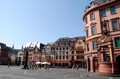 Large square with important buildings in Mainz in Germany Stock Photo
