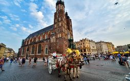 Large square in Krakow stock image