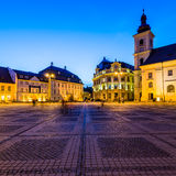 Large square in Sibiu at night Royalty Free Stock Image