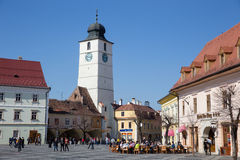 Large square. In Sibiu town in Romania stock image