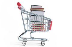 Books inside shopping cart Stock Photography