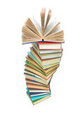 A large stack of books on white background Royalty Free Stock Images