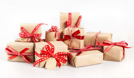 Large stack of decorative Christmas gifts Royalty Free Stock Photos
