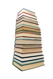 Large stack of different books isolated on white background Royalty Free Stock Images