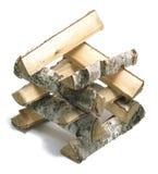 Large stack of firewood isolated on white background Stock Photo