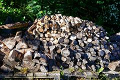 A large stack of firewood ready for the cold months. A large stack of firewood nicely chopped for winter to make sure the family is kept warm and dry stock photography