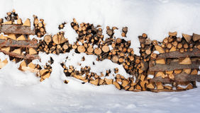 Large Stack of Firewood Piled Outside in the Snow Royalty Free Stock Photography