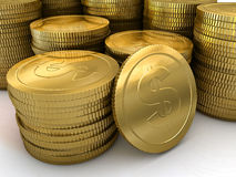 A large stack of gold coins Stock Image