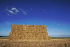 Large stack of hay bales Stock Photo