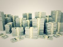 Large stack of money  us currency. Retro image Royalty Free Stock Photo