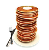 Large stack of pancakes. With plate and fork Stock Photos