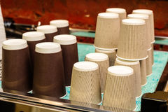 Large stack of paper cups Royalty Free Stock Images
