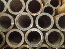 Large stack of thick-walled steel pipes for building structures