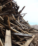 Large stack of wood on a demolition site Royalty Free Stock Photography