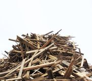 Large stack of wood on a demolition site Stock Photo