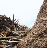 Large stack of wood mountain on a demolition site Royalty Free Stock Photo