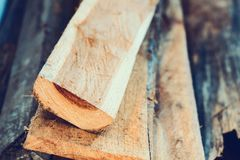 Large stack of wood planks Royalty Free Stock Photos