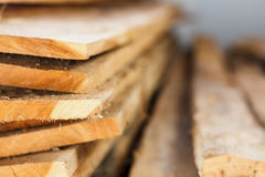Large stack of wood planks Stock Image