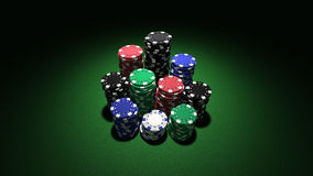 Large stacks of casino chips Stock Images