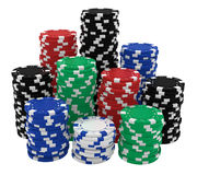 Large stacks of casino chips isolated on white Stock Image