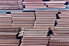 Red outside ceramic construction tiles royalty free stock photography