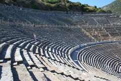 Biblical Ephesus Stadium. This is the large stadium in Ephesus where people rioted in anger to the message of St. Paul see Acts 19:23-41. This Roman arena was stock images