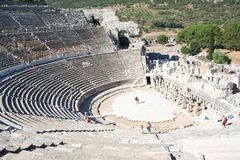 Biblical Ephesus Stadium. This is the large stadium in Ephesus where people rioted in anger to the message of St. Paul see Acts 19:23-41. This Roman arena was stock image