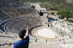Biblical Ephesus Stadium. This is the large stadium in Ephesus where people rioted in anger to the message of St. Paul see Acts 19:23-41. This Roman arena was stock photo