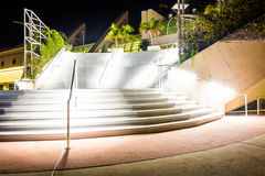 Large staircase at the Convention Center at night, in San Diego, Royalty Free Stock Photos