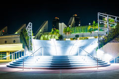 Large staircase at the Convention Center at night, in San Diego, Stock Photography