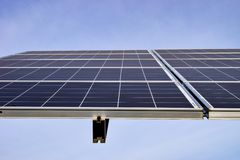 Big solar station on a clear day stock images