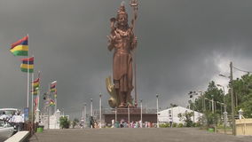 A large statue of the Buddha in India stock footage
