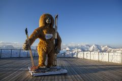 A large statue of the Yeti on the observation platform
