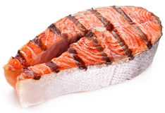 Large steak of grilled salmon. Stock Images