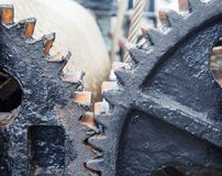 Large steel gears. Large steel greased gears in a single mechanism royalty free stock photo