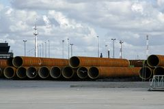 Large steel pipes Stock Photo