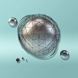 Large steel sphere. With a glossy color reflections in the iron lattice and small glass spheres on a blue gradient background of crumpled paper . Abstract Royalty Free Stock Image