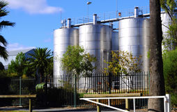 Large steel wine vats at Seppeltsfield estate Royalty Free Stock Photo