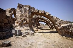 Large stone arches, Salamis, North Cyprus Royalty Free Stock Photos