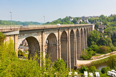 Large stone bridge in Dinan town Royalty Free Stock Photo