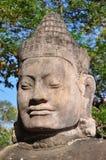 Large stone buddha head statue stock photography