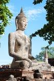 Large stone Buddha statue at Wat Mahathat, Ayutthaya, Thailand Royalty Free Stock Image