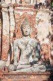 Large stone Buddha statue at Wat Mahathat, Ayutthaya, Thailand Stock Photo
