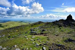 Large stone cairn on Raise. Hart Side from the summit of Raise Royalty Free Stock Photos