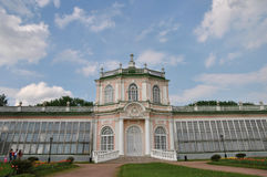 `Large stone greenhouse` in the Kuskovo park, Moscow stock image