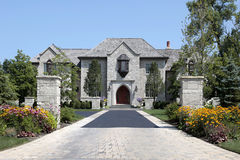 Large stone home with pillars Royalty Free Stock Photos
