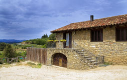 Large stone house, in the valleys of Catalonia Stock Photography